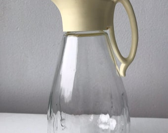 Vintage Glass Syrup Pitcher with Plastic Twist on Spout