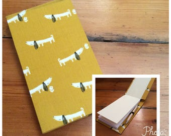 Handmade Jotter Notebook with Pencil/Sausage Dog Fabric/Shopping List pad