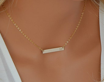 14k Gold Bar Necklace, Gold Bar Necklace Personalize, Initial Bar Necklace, Horizontal Bar, Engraved, Customized, 4x30