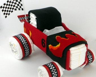 Race Car Diaper Cake - Diaper Cake - Car Diaper Cake - Baby Shower Centerpiece - Baby Gift - Baby Shower Gift