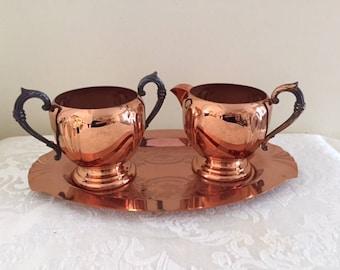 Vintage Copper Cream and Sugar Set Silver Plate Handles on Tray Silver Plate Copper, Vintage Home Decor