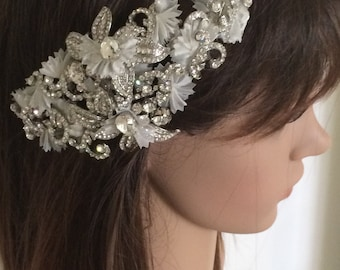 Swarovski crystal rhinestone and ivory netting headpiece (rhodium)