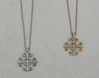 Antique Brass or Gunmetal Cross Necklace