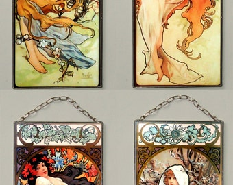 BUY 3GET 1 FREE!!! Alphonse Mucha - Four Seasons: Spring, Summer, Autumn, Winter, Stained glass (Price for all)