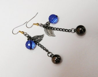 Earrings with Leaf, Blue Bead and Smooth Round Bead on Chain