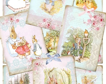 "Peter Rabbit Collage Sheets Instant Download Nine 2.5x3.5"" Beatrix Potter Peter Rabbit Graphics, Images Clipart Personal & Commercial Use"