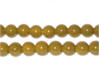 8mm Gold Team and School Glass Bead, approx. 56 beads
