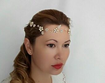 Bridal Headband, Flower Headband Wedding Headband, Bridal Halo Headpiece, Wedding Leaf Headband, Pearl Crown, Gold Bridal Hair Piece