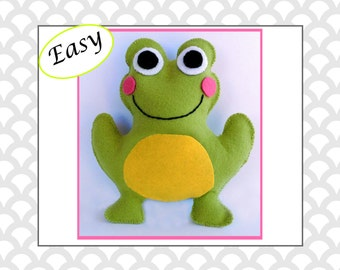 Frog Sewing Pattern, Felt Frog Pattern, Frog Plushie, Frog Softie,  Frog Stuffed Animal Hand Sewing Pattern, Plushie Tutorial PDF JB101