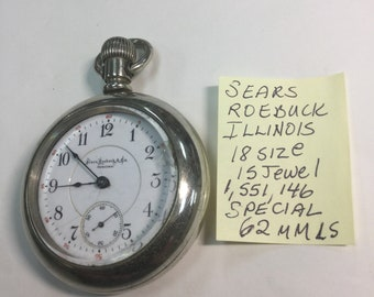 1902 Sears Roebuck Special Illinois 15J 18S 62mm Pocket Watch Running