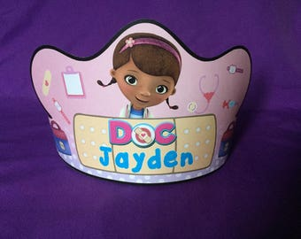 PRINTABLE Personalized Doc McStuffins Birthday Crown / Party Hat (Digital file ONLY)