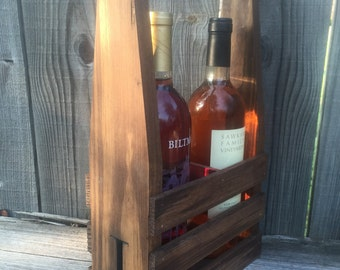 Rustic Engraved personalized wine caddie carrier wedding bridesmaid mothers day father's day christmas gift new