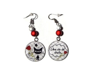 """Earrings cabochon cats and inscription """"A life of cats"""" with magic Pearl red and white-gift"""