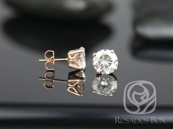 Rosados Box Donna 8mm 14kt Rose Gold Round F1- Moissanite Leaf Gallery Basket Stud Earrings