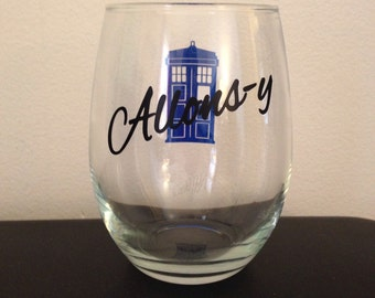 Allons-y stemless wine glass