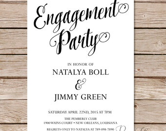 Modern Calligraphy Engagement Party Invitation  / calligraphy engagement party invitations / printable invitations / printed invitations