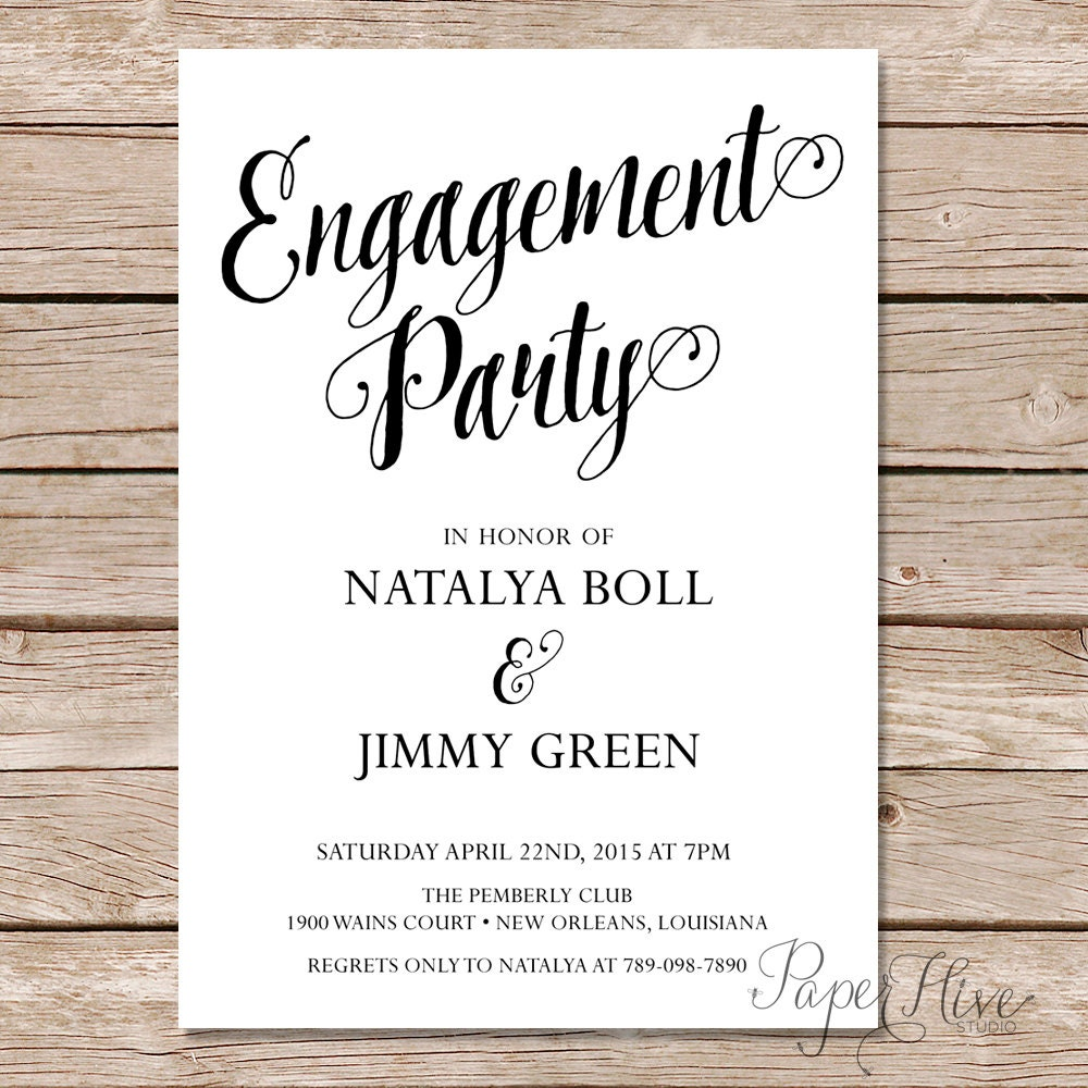 🔎zoom  Free Engagement Invitation Templates