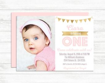 First Birthday Invitation Girl, Blush Pink And Gold Birthday Invitation Photo Birthday Invitation 1st Baby Birthday Invite, Baby Girl Invite
