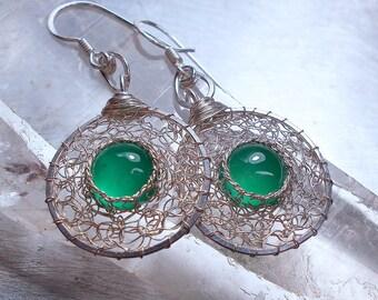 Green Onyx Sterling Silver Earrings, Wire Crochet Dangle Earrings, Gemstone Jewelry