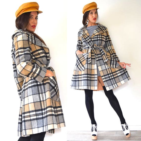 Vintage 60s 70s Walk in the Park Plaid Wrap Wool Coat (size small, medium)