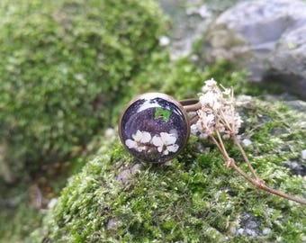 Flower Resin Ring - Pressed Flower Ring - Real Flower Jewelry - White Flower Ring - Botanical Ring - Gift For Her - Babys Breath Jewelry