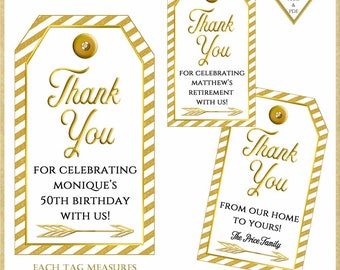 Personalized Gold and White Thank You Tags:Printable Tags, 60th Birthday Party Favors, Retirement Party, Wine Tags, Housewarming Tag, #51518