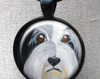 Bearded Collie Necklace  ~ April Birthday  ~ Girlfriend Gift ~ Beardie Owner Gift ~ Dog Necklace