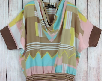 Vintage 80s Gina Bacconi Top Cowl Neck Batwing Sleeves Beige Yellow Pink Green UK 18