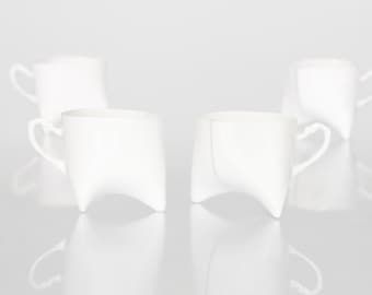Ceramic cups set of four- white porcelain mugs, contemporary ceramic cups handmade coffee cup or tea cup by ENDE