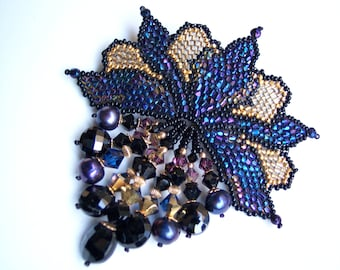 Midnight Magic Art Nouveau Brooch with  24Karat Gold Beads and Black Melanite Garnet Drops, Gift for Her, Hand Woven Seed Bead Jewelry