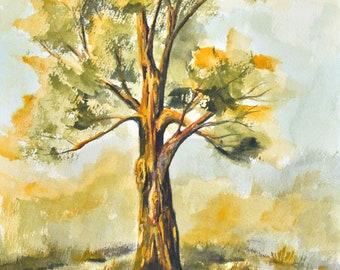 Original watercolor landscape, painting, fall tree watercolor, watercolor painting, wall art, beautiful painting