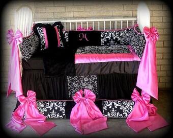 Custom Made Baby n Toddler Bedding Black n White Damask n Polka Dots Hot Pink Satin Bows n Trim