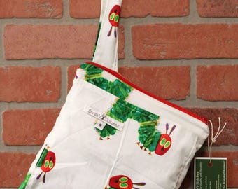 Small Wetbag, Very Hungry Caterpillar, HANDLE, Cloth Diaper Wetbag, Cosmetic Bag, Diaper Bag, Holds One Diaper, Size Small with Pocket, S39