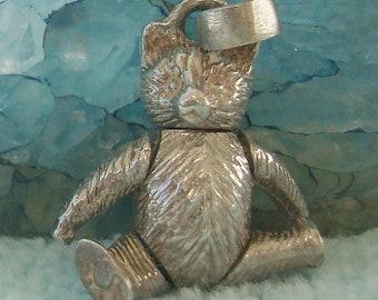 Vintage Sterling Silver 925 Movable Bear Bracelet Necklace Charm