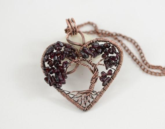 Herz Baum des Lebens Halskette Granat Halskette Anhänger Draht