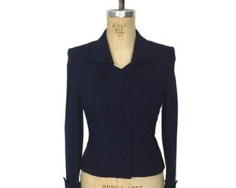vintage 1940's tailored jacket / Fairbrooke / navy blue / wool crepe / fitted wasp waist jacket / women's vintage jacket / size medium