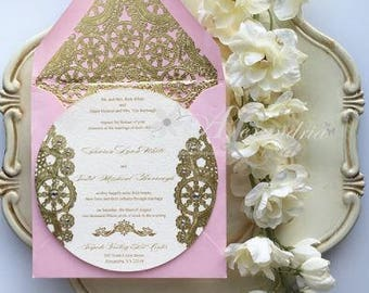 Blossom and Gold Round Invitation