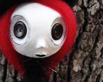 Goth Art Doll- Buttom Eyed Art Doll - Halloween Art Doll -Made To Order