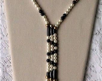 Vintage Black & White Pearl Bead Zig Zag Asymmetric Lariat Statement Necklace