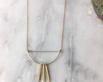 Dainty Gold and Silver Scallop and Bars Necklace