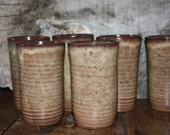 Stoneware tumblers, Ceramic pint glass Listing is for one of the 6 shown