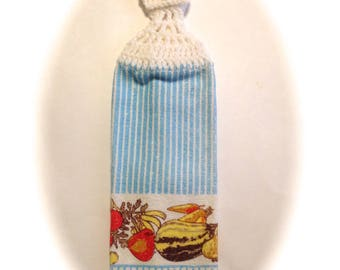 Blue Stripes Vegetables Hand Towel With White Crocheted Top