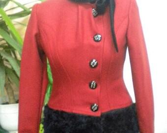 Unique and stylish ladies coat combination between black eco leather