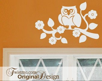 Woodland Nursery Owl Gift Wall Decal, Wise Old Owl on Tree Branch with Flowers (0171c1v)