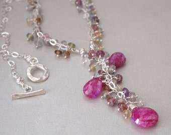 Ruby Moonstone Multi Color Sapphire Sterling Silver Necklace