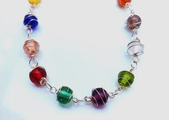 Wire Wrapped Glass Bead Necklace, 30 inch Stone Necklace