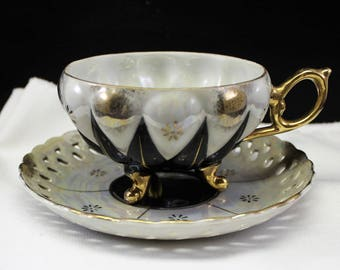 Black and White Diamond Pattern Tea Cup and Saucer  Vintage Lusterware  3 curved feet  Footed cup  Teacup  Gold trim  Iridescent Opalescent