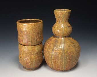 Tokuri & Guinomi Set cone 10  Yellow Ash Glazes on Porcelaneous Stoneware