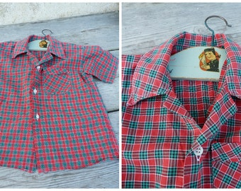 Vintage 1950/1960 French  red plaid cotton  shirt size  4 years