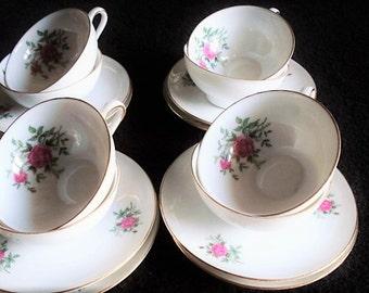 17 Piece Tea Set, Fine Bone China, Pink Rose Tea Cups and Saucers, Vintage China, Party Tableware, Veritable Porcelain Tea Set, China Cups